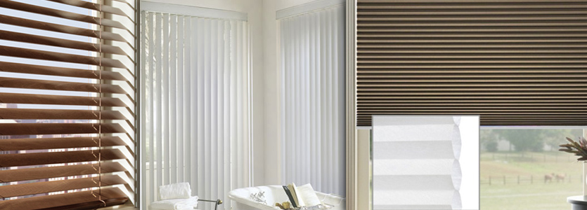 Real 2 inch wood blinds, faux wood blinds, custom shutters, cellular shades, pleated shades, bamboo